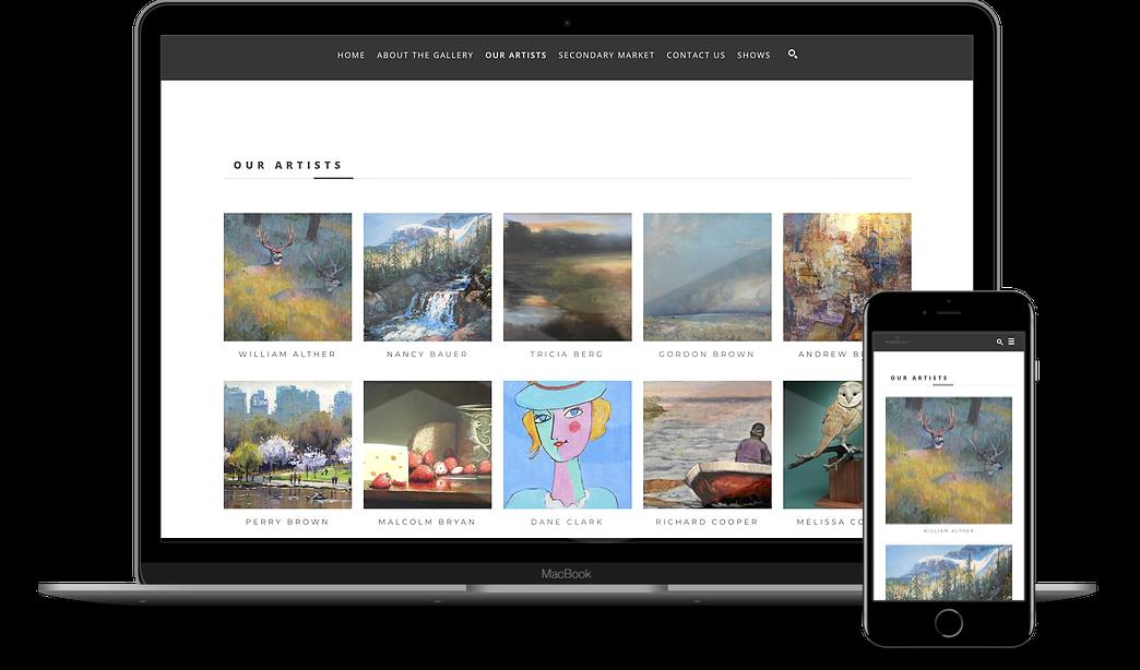 ArtCloud Websites on Laptop and Mobile Screens