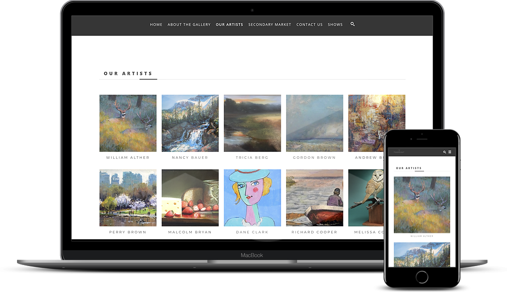 ArtCloud Websites on Laptop and Mobile Screens