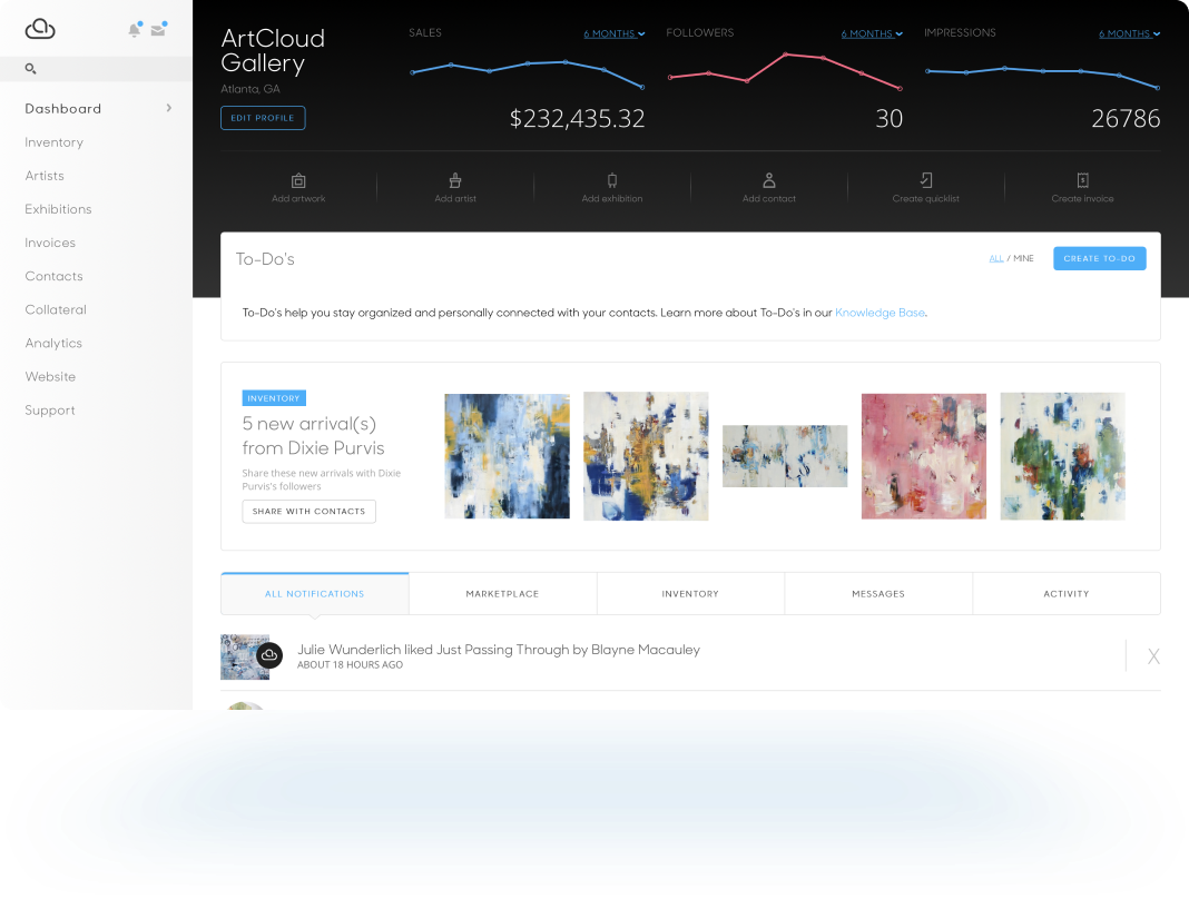 ArtCloud Manager Dashboard