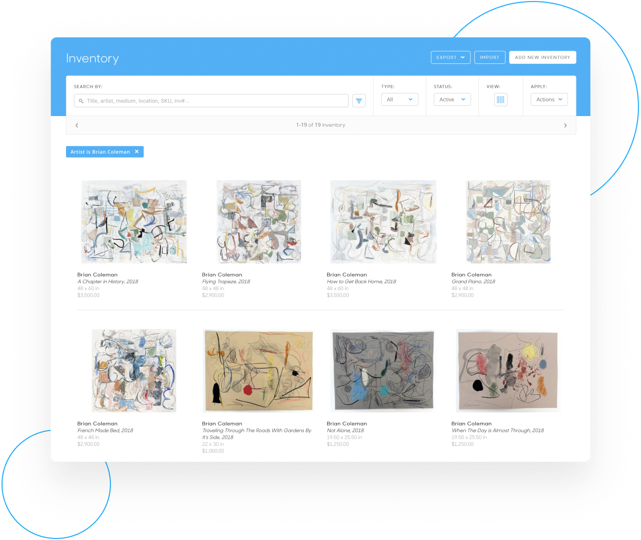 Inventory management in ArtCloud Manager