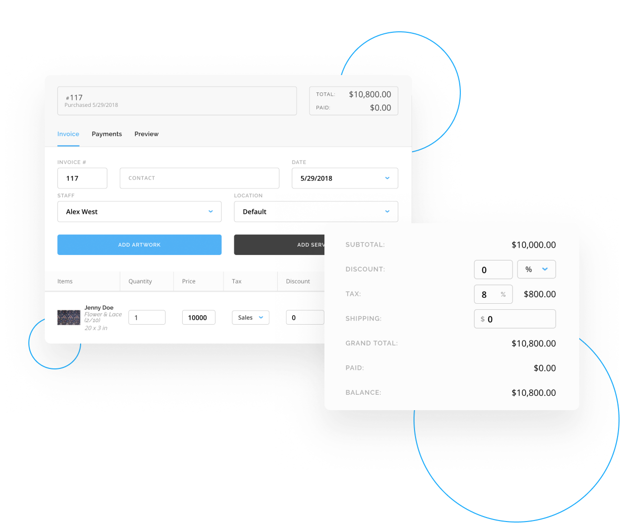 Invoices in ArtCloud Manager