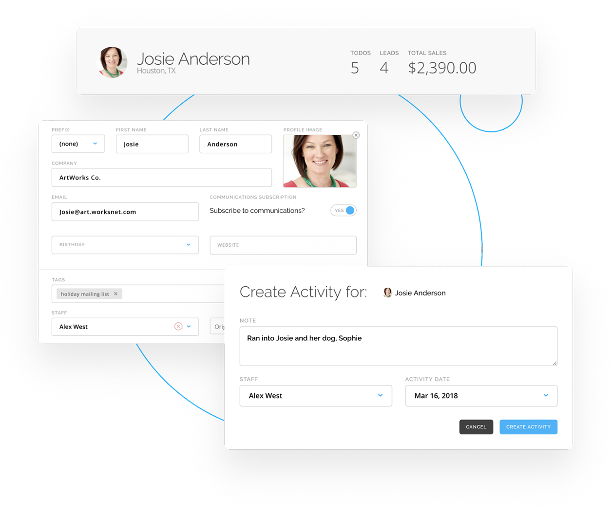 Contact records in ArtCloud Manager